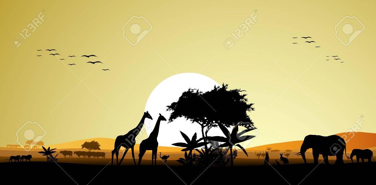 beauty silhouette of safari animal wildlife Stock Vector - 16460575