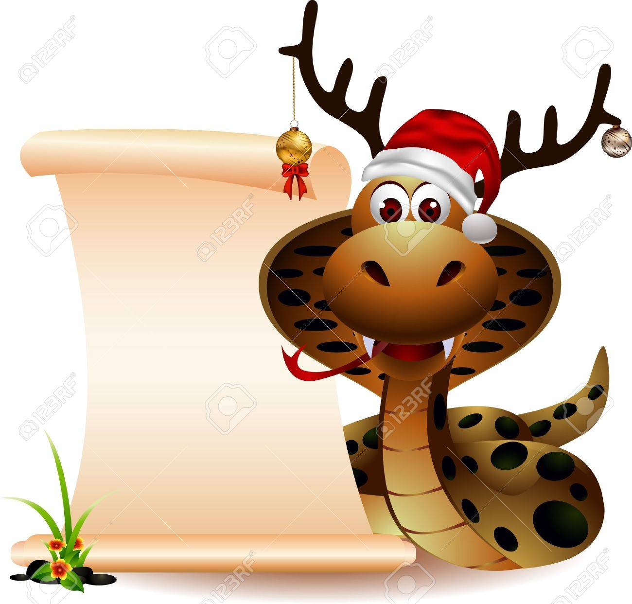 cute christmas snake with blank sign Stock Vector - 16476434