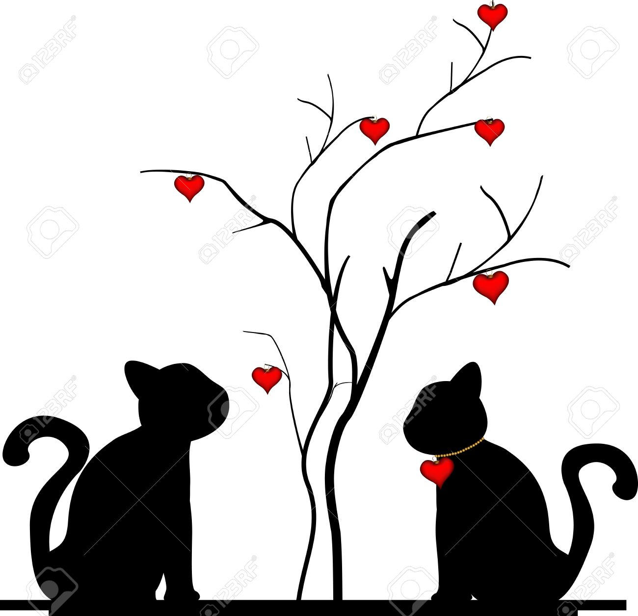 Silueta De Un Gato En El árbol Del Amor Ilustraciones Vectoriales
