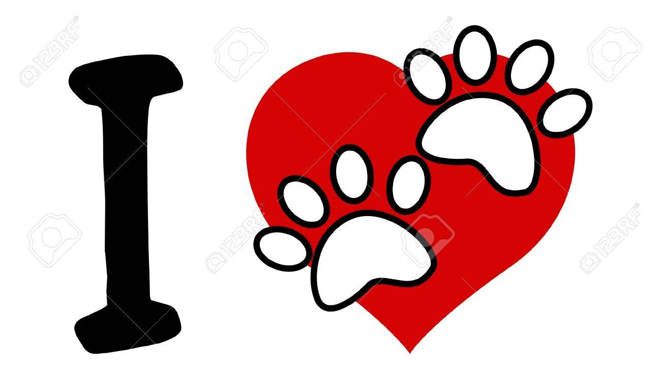 I Love Text With Red Heart And Paw Print Stock Vector - 16718940