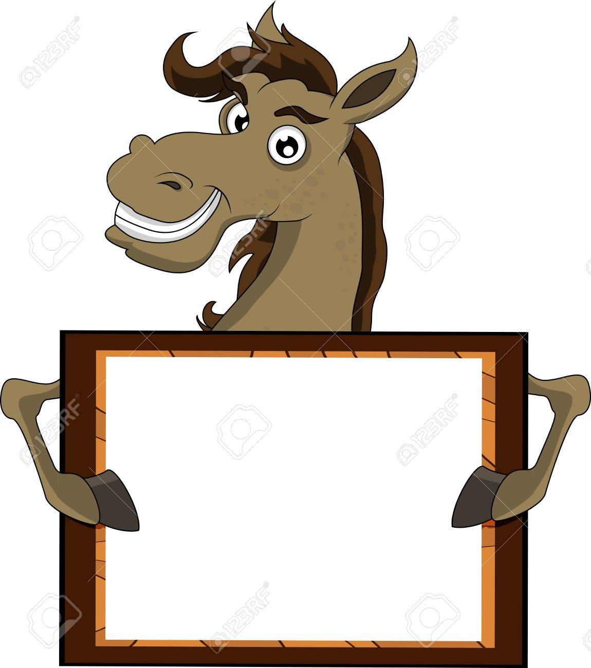 horse with blank sign Stock Vector - 17201242