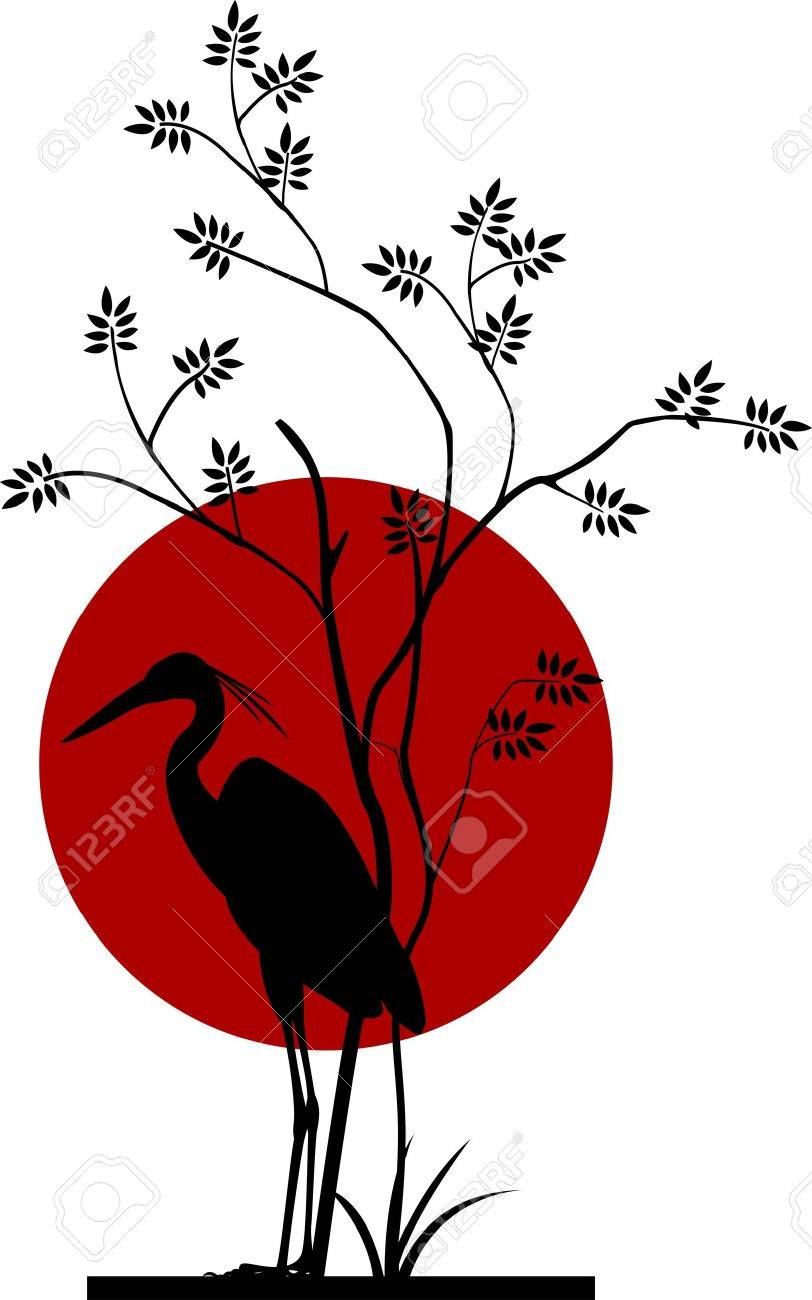heron silhouette with moon background Stock Vector - 17253368