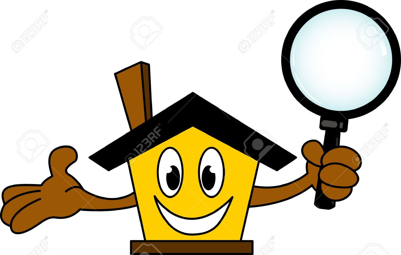 house cartoon holding magnifying glass Stock Vector - 17362158