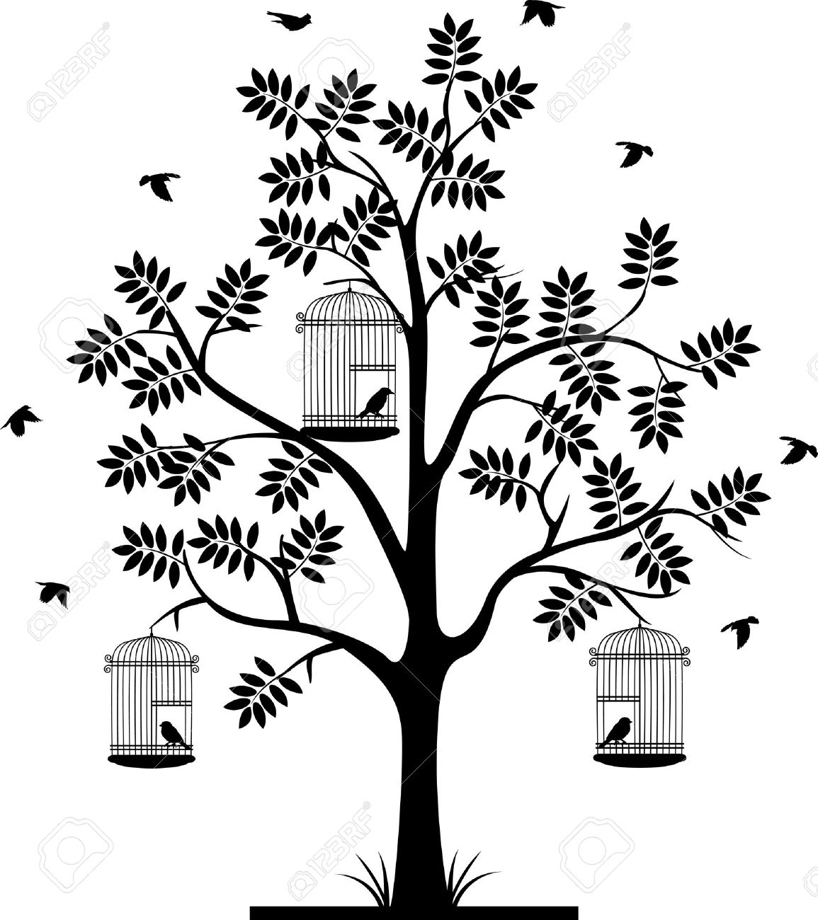 Flying Birds Silhouette Tree Bird Cages Tree Silhouette