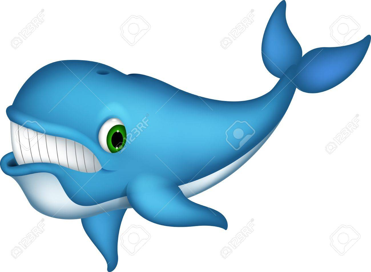 cute blue whale cartoon Stock Vector - 19483370
