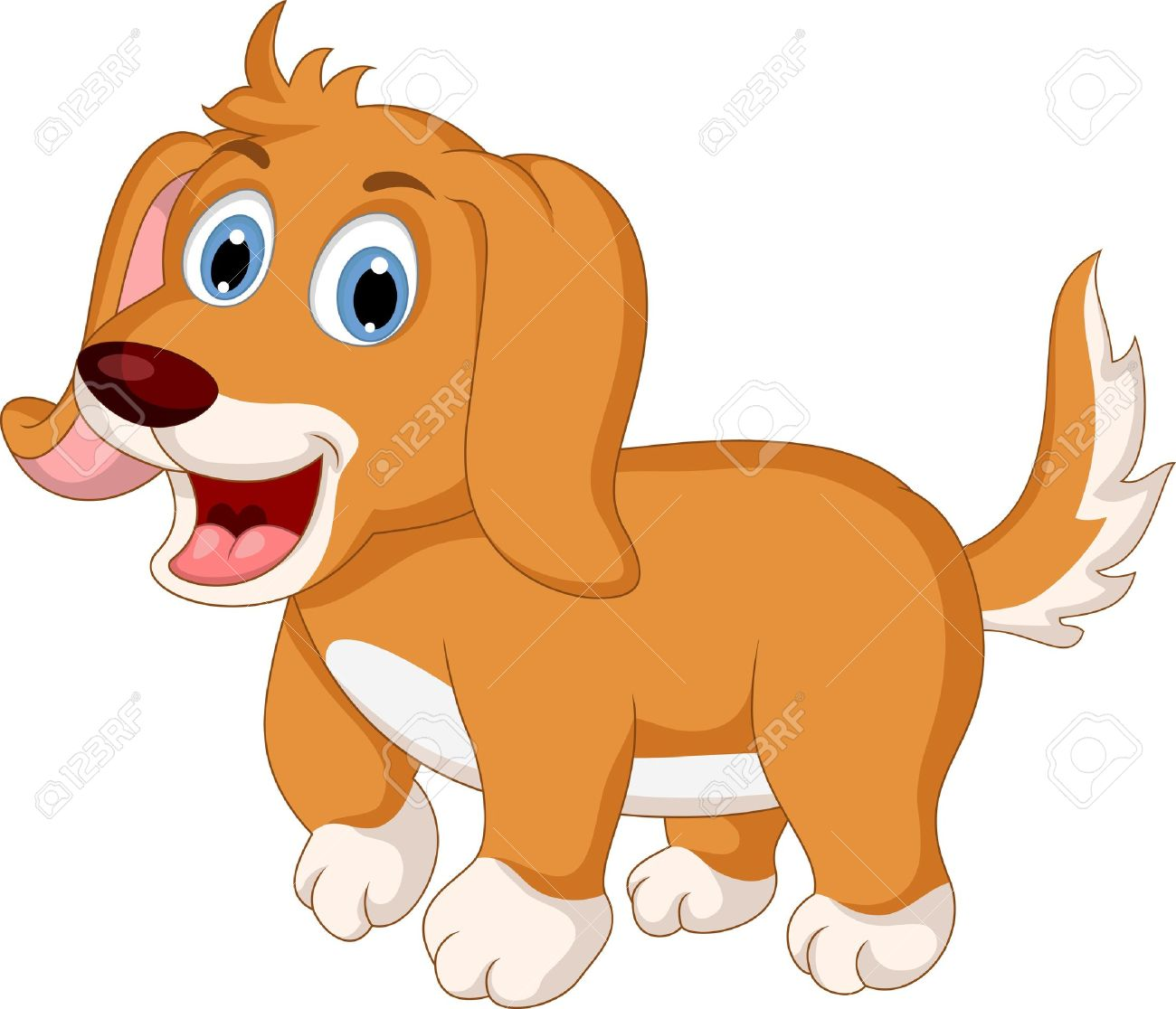 Poca Expresión Lindo Perro De Dibujos Animados Ilustraciones