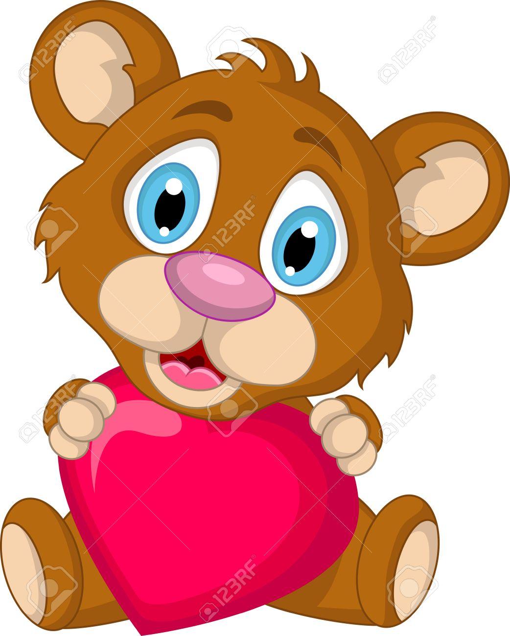 Lindo Marrón Oso De Dibujos Animados Con El Amor Del Corazón