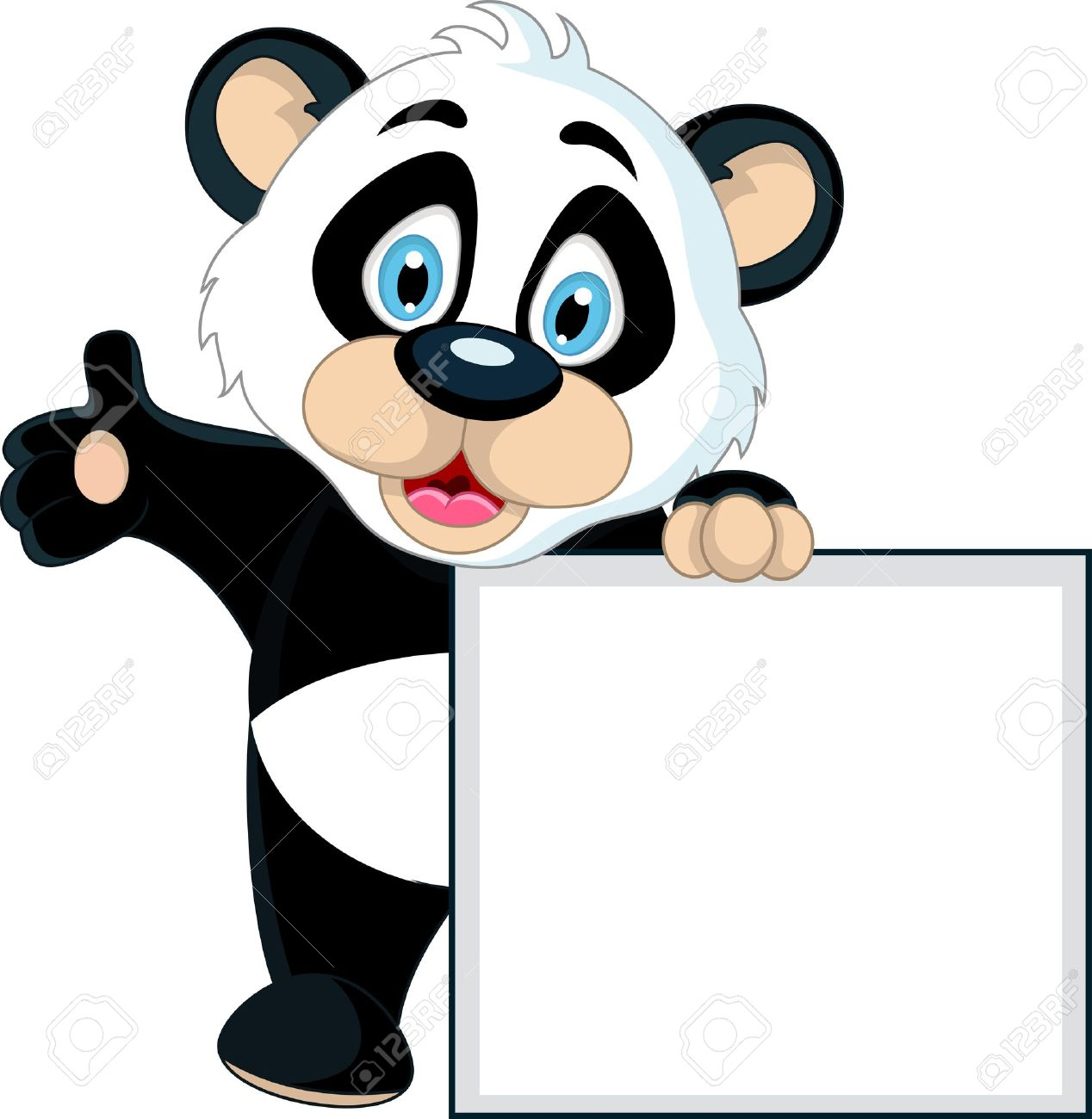 cute Baby panda holding blank sign Stock Vector - 19791473