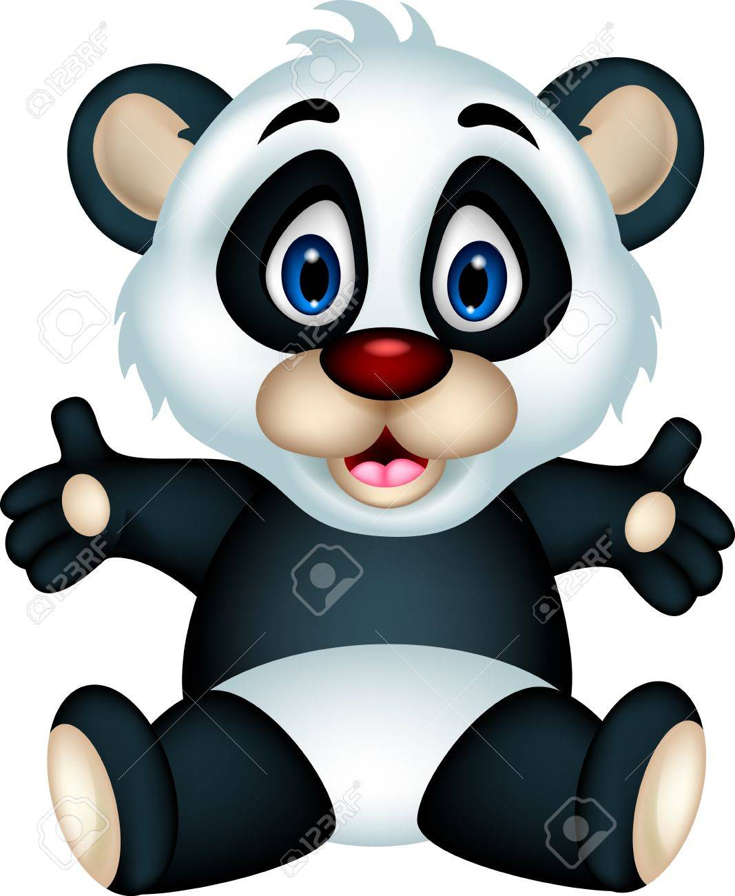 cute panda cartoon posing Stock Vector - 19791650