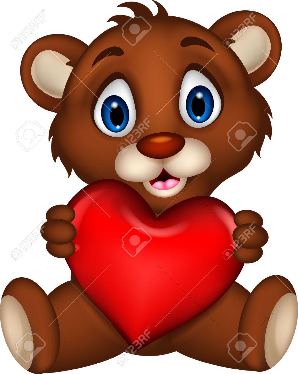 Dessin Amoureux Mignon mignon bébé ours brun dessin animé posant avec amour de coeur clip