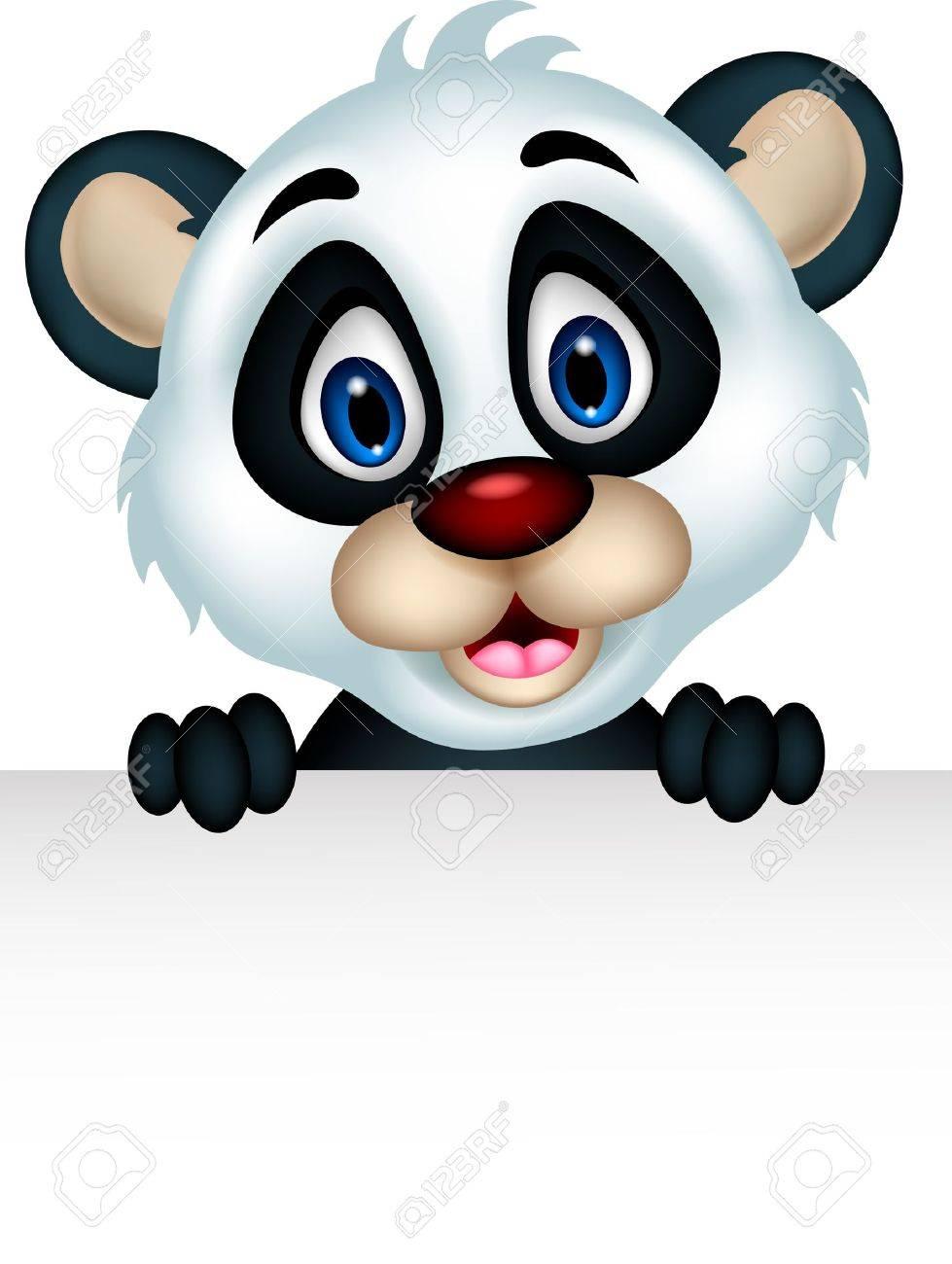 banque dimages dessin anim mignon de panda posant avec le signe vierge