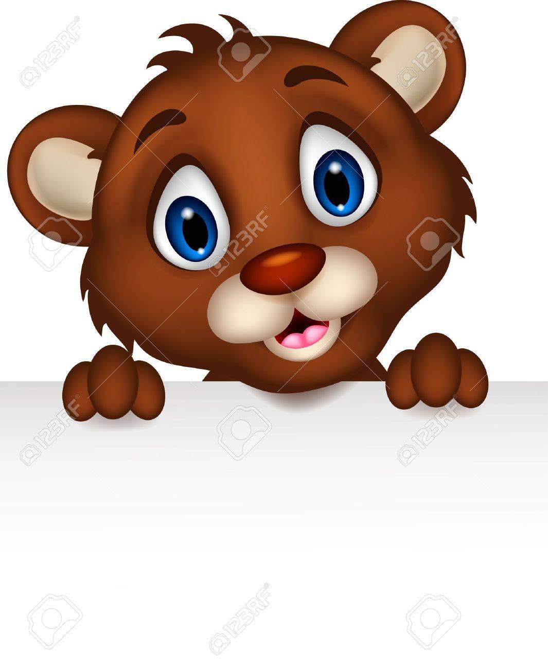 cute baby brown bear cartoon posing with blank sign Stock Vector - 20245246