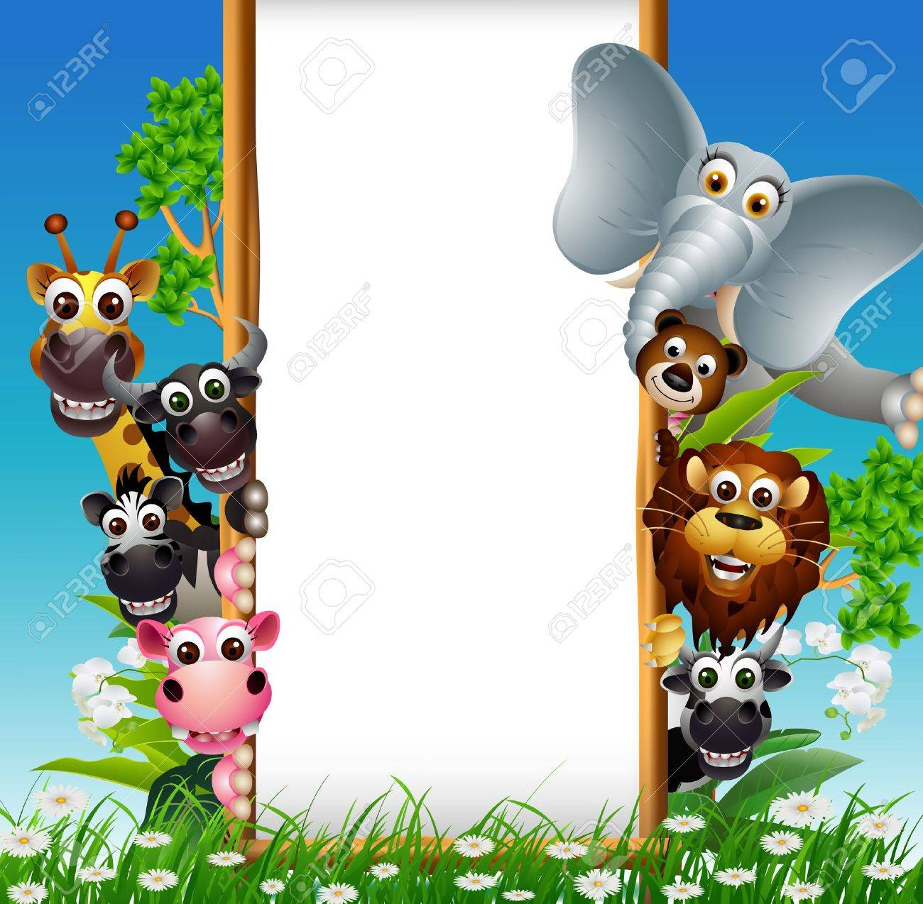 animal cartoon with blank sign and tropical plant Stock Vector - 23285888