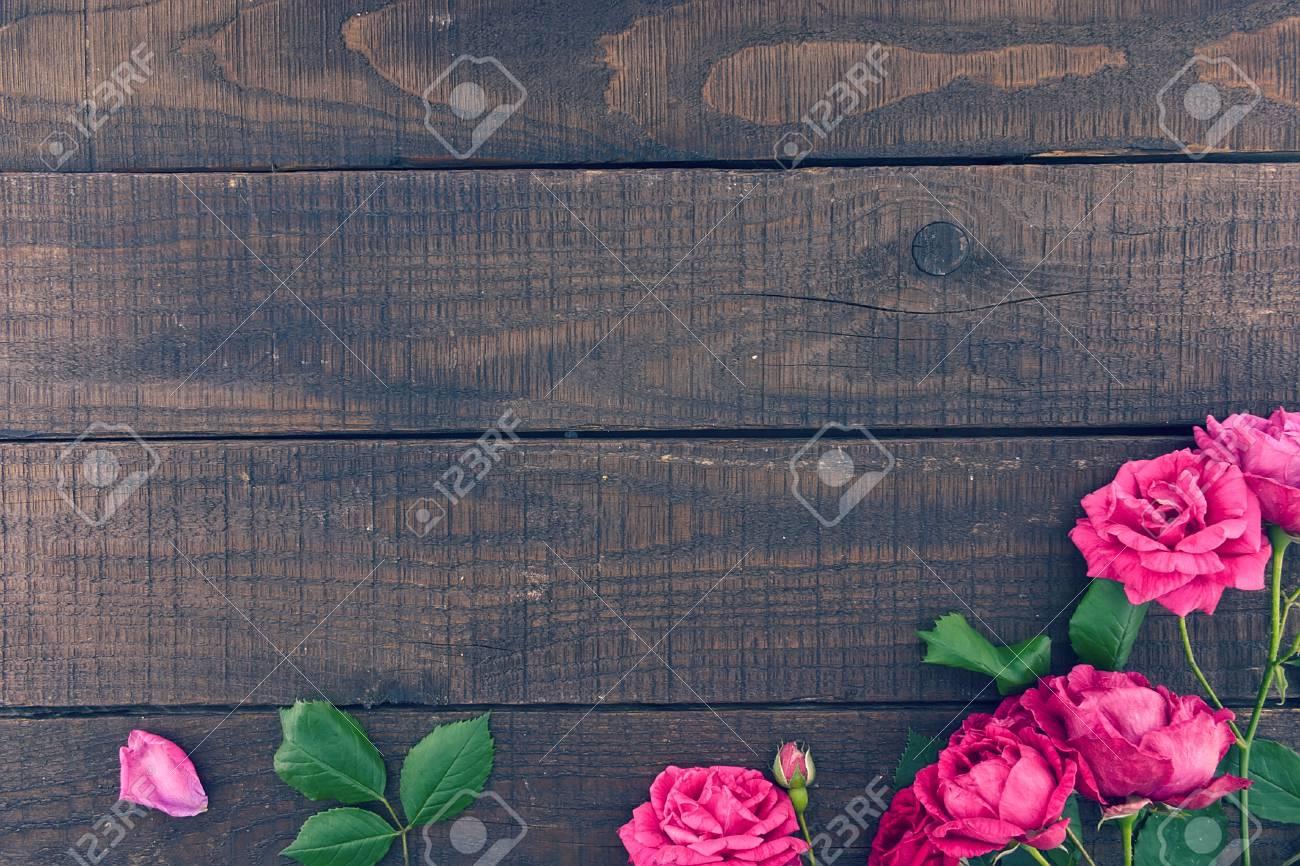 Frame Of Roses On Dark Rustic Wooden Background Spring Flowers Valentines