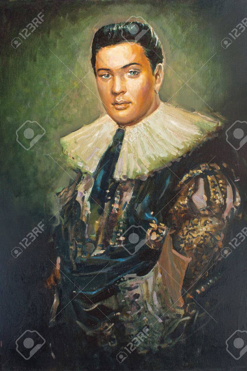 Imitation of antique portrait, the stranger in old-fashioned suit, painting Stock Photo - 7150190