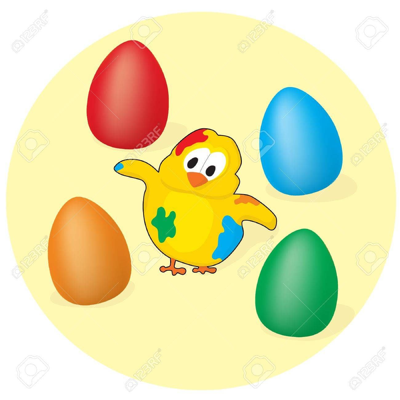 Chicken and painted eggs Stock Vector - 9094329