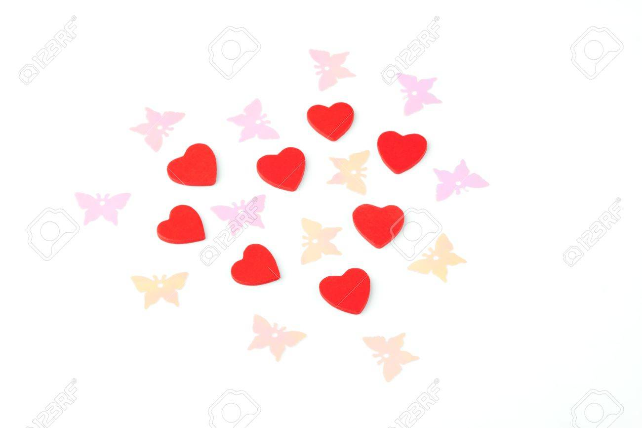Heart from many little red hearts and butterflies. Stock Photo - 9094300