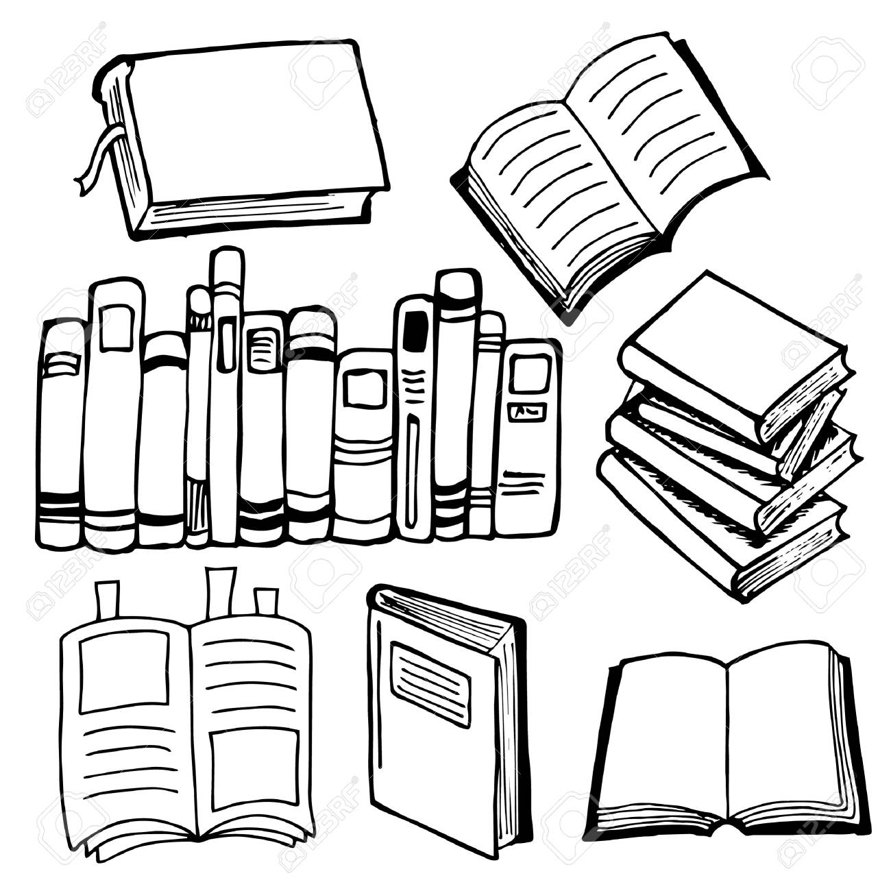 Books and notebooks set of black and white sketches design elements hand drawing