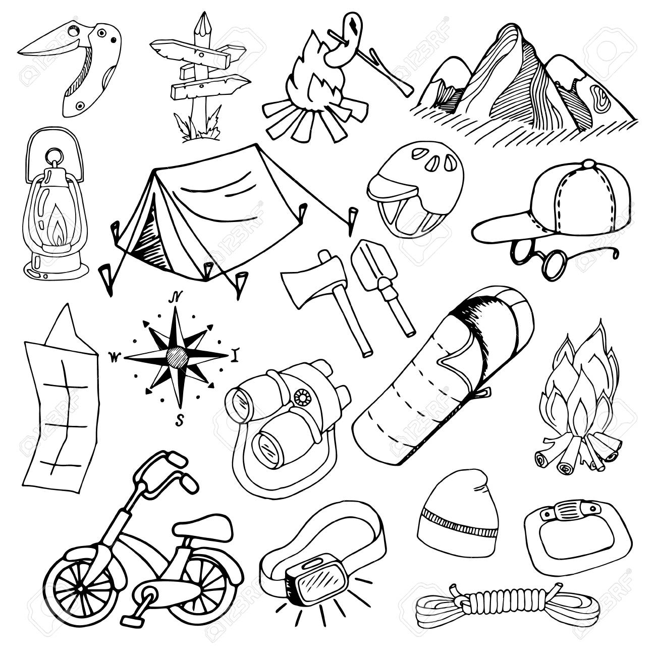 Set of sketches on a theme of summer hiking and camping hand drawing