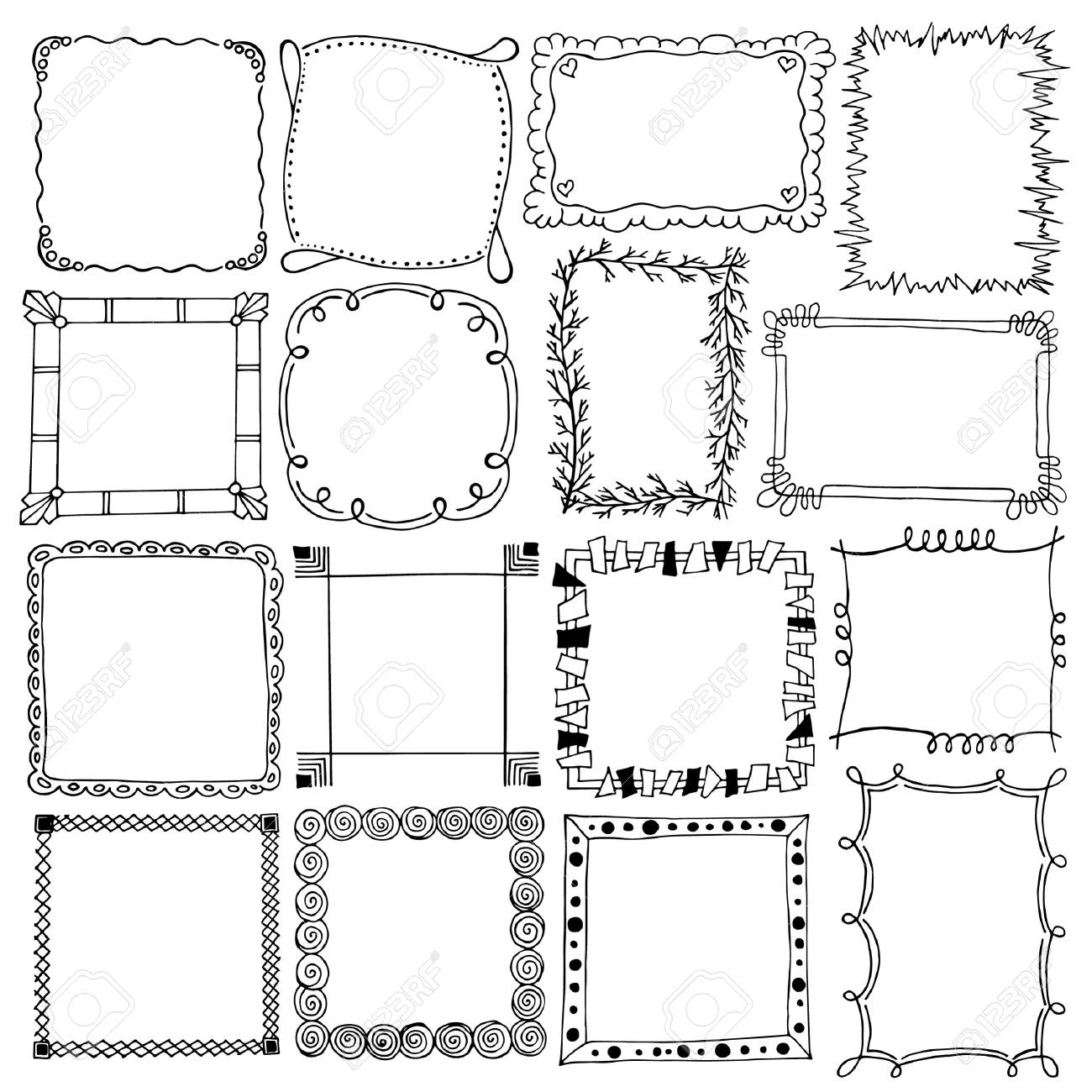 Decorative Frames Ornament Black And White Sketches Hand Drawing