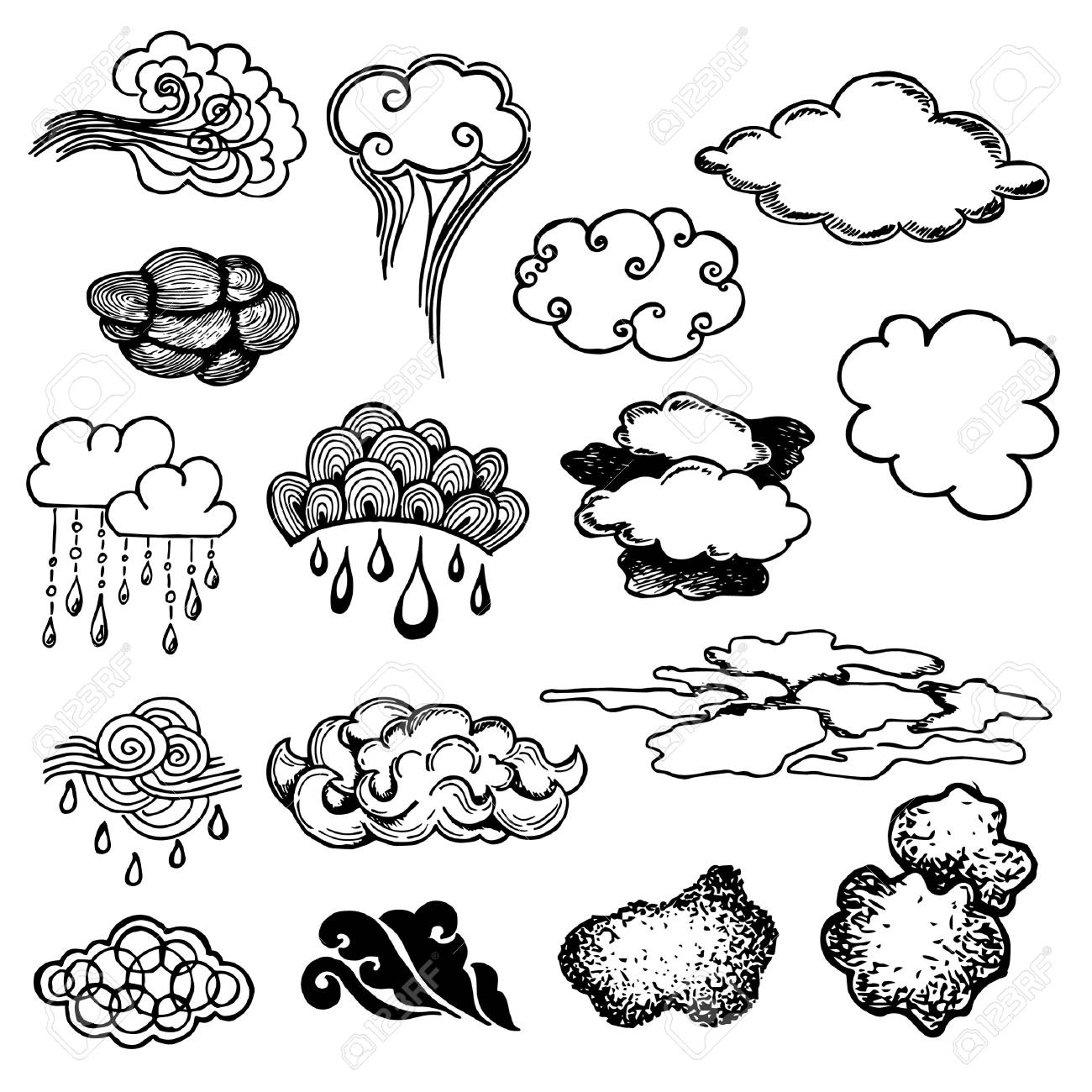 Set of stylized clouds sketch of doodle hand drawing black and white on