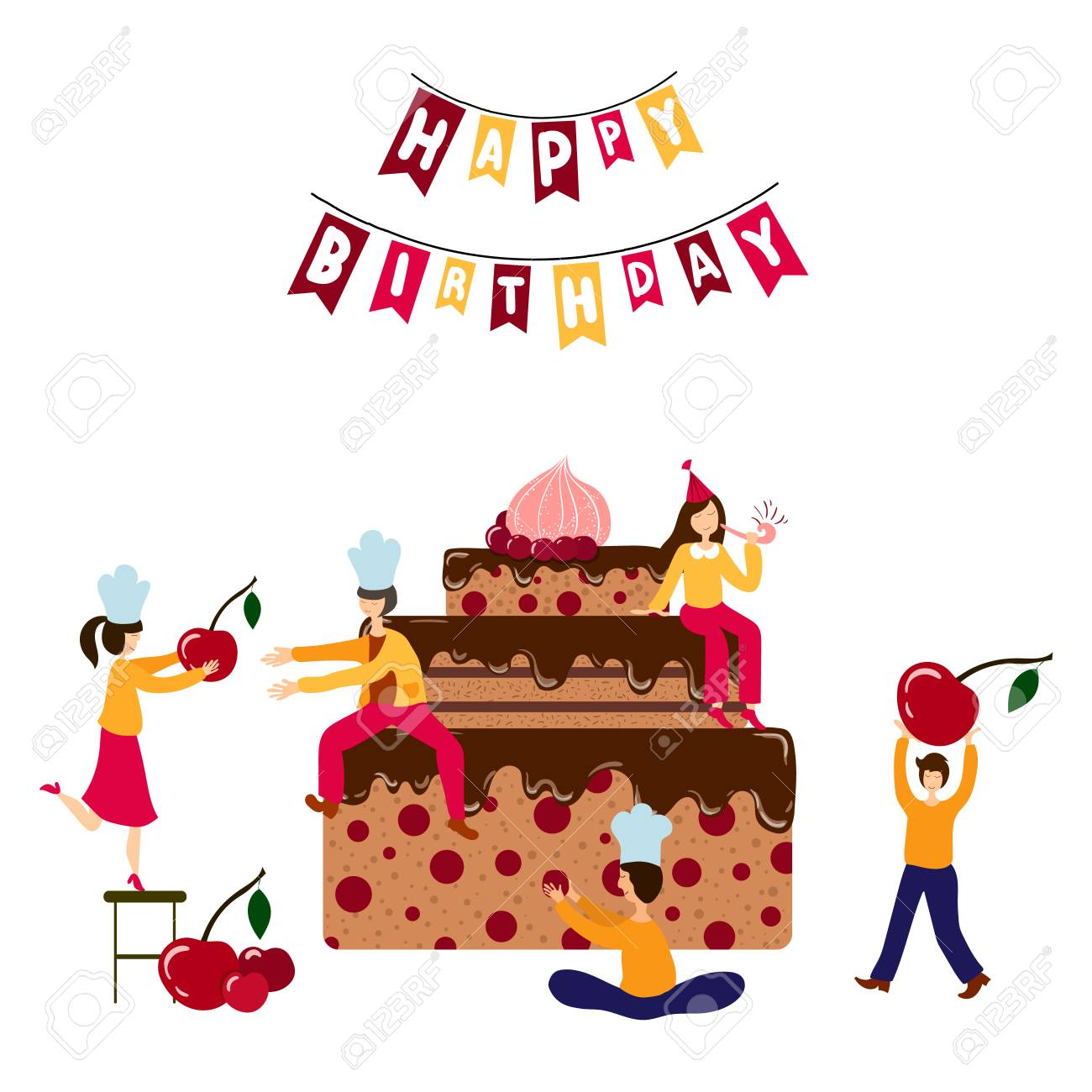 Phenomenal Teamwork Cooking Concept Little People Men And Women Funny Birthday Cards Online Fluifree Goldxyz