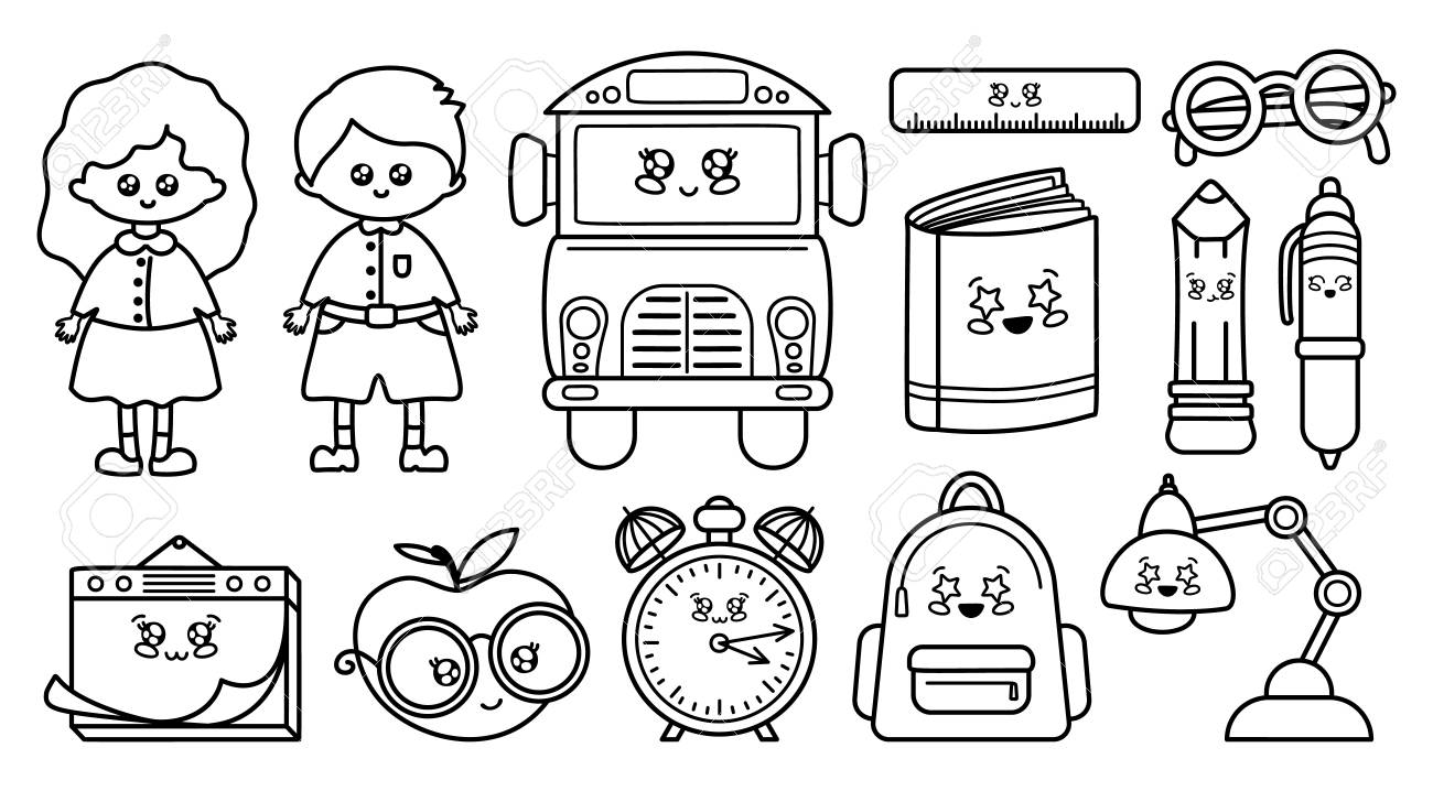 Set Of Black Outline Icons School Supplies Back To School