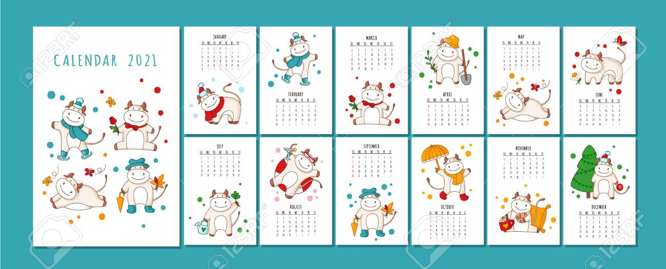White Ox Calendar Or Planner A4 Format For 2021 With Kawaii