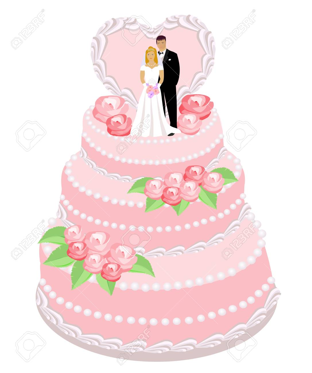 Wedding Cake With Roses, Bride And Groom Figures. Vector ...