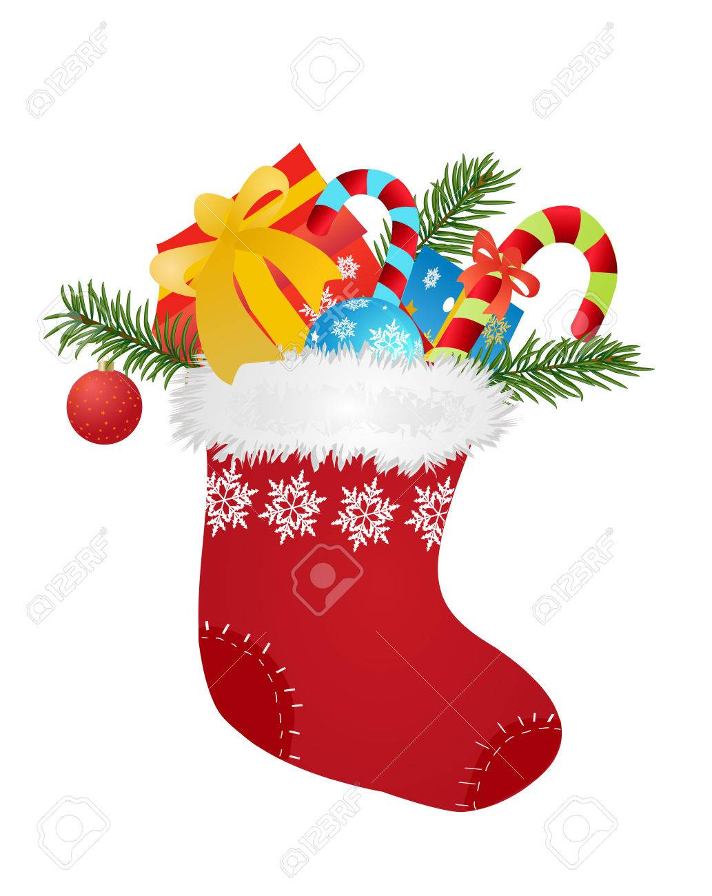 Christmas red sock with gifts and candies - vector illustration - 53326664