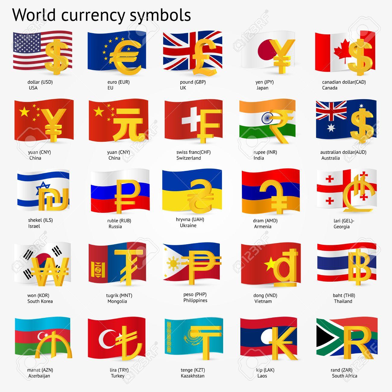 Curency symbols fieldstation world currency symbols with flag icon set money sign icons buycottarizona