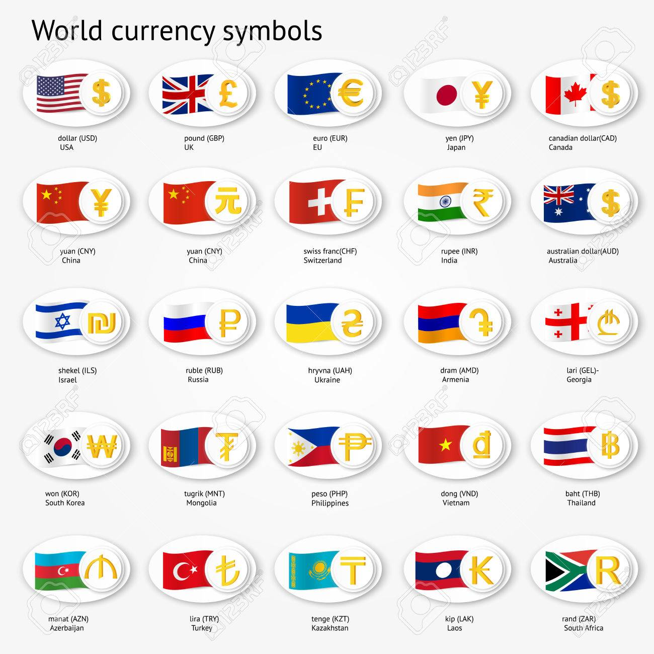 World currency symbols icon set money sign icons with national world currency symbols icon set money sign icons with national flags vector illustration biocorpaavc Choice Image