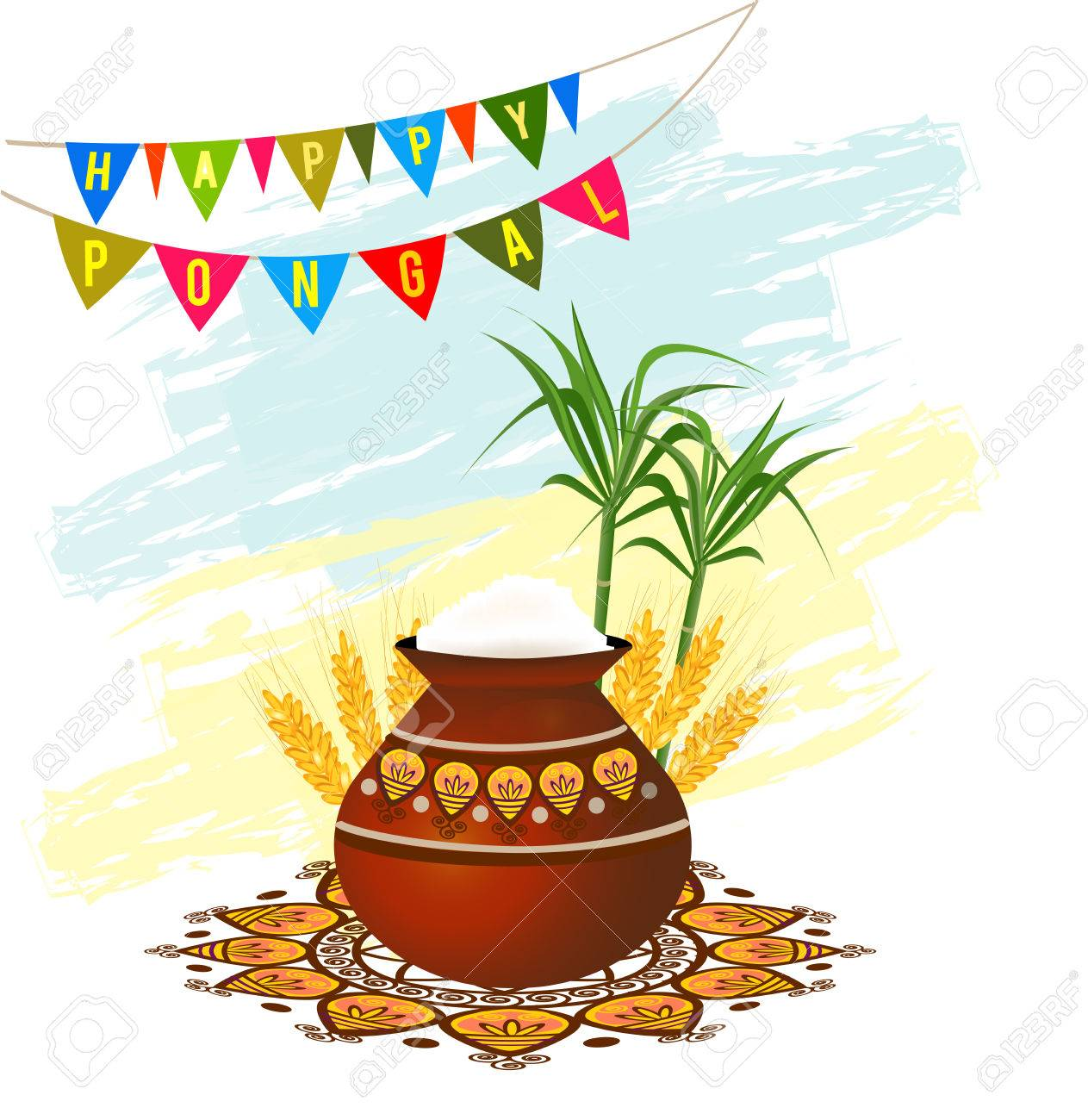 Happy pongal south indian harvesting festival greeting card with happy pongal south indian harvesting festival greeting card with pongal rice in a traditional mud pot kristyandbryce Images