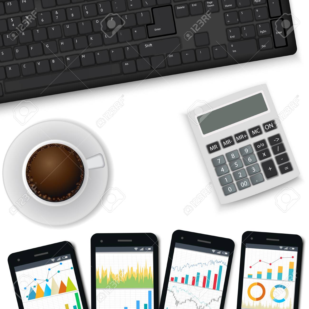 Desk With Keyboard Mobile Phones Calculator Cup Of Coffee Royalty Free Cliparts Vectors And Stock Illustration Image 98280178