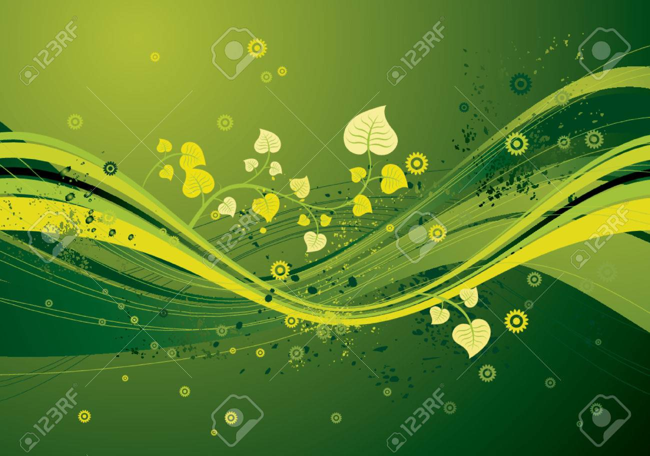 Modern green  background with waves,leafs and flowers, vector illustration Stock Vector - 964042