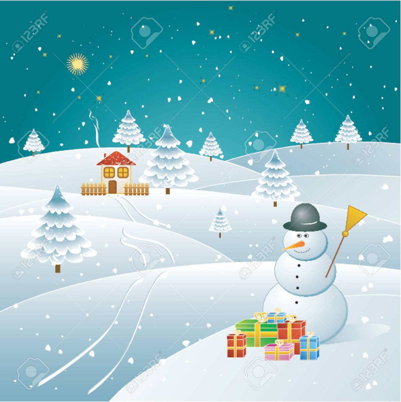 Snowman in the winter forest,vector illustration Stock Vector - 964172