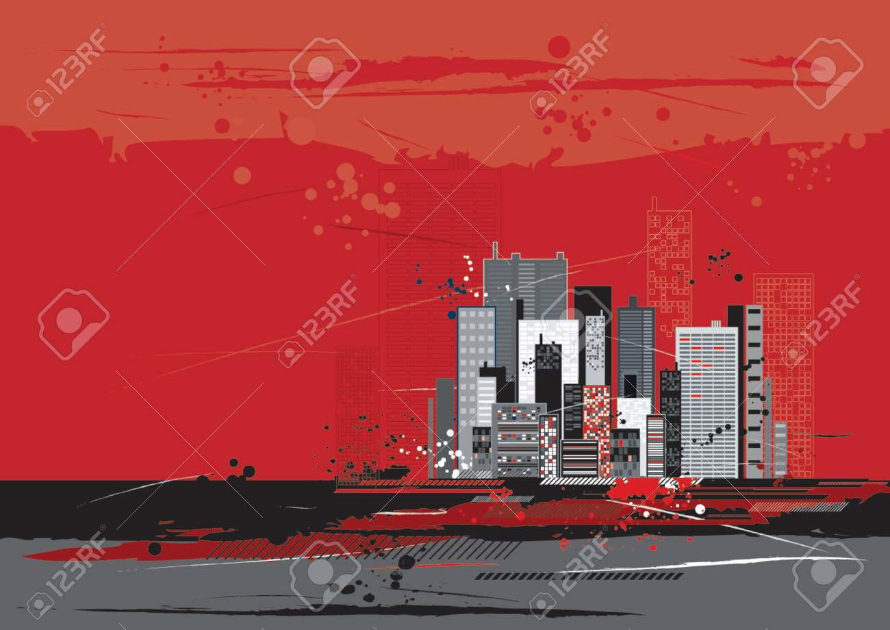 Urban scene with many different shapes, vector illustration Stock Vector - 979516