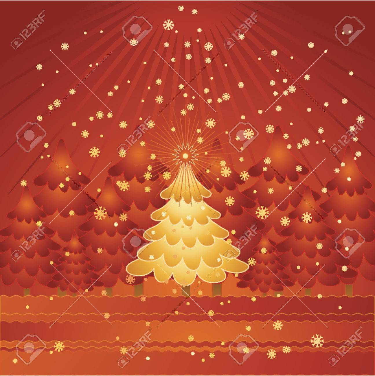 golden christmas tree in the red forest,vector illustration Stock Vector - 979734