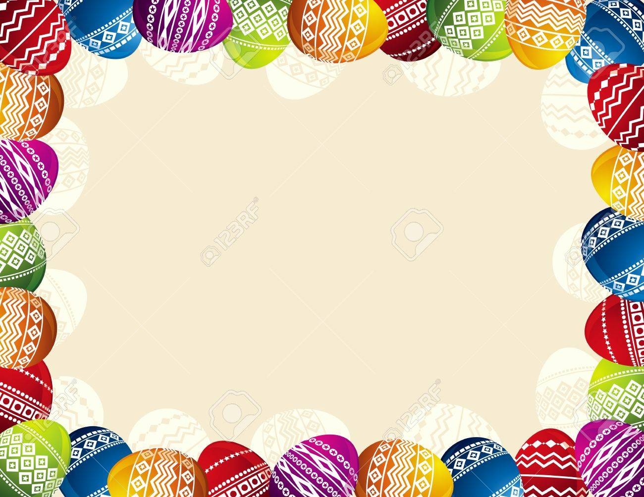background with frame of easter eggs royalty free cliparts