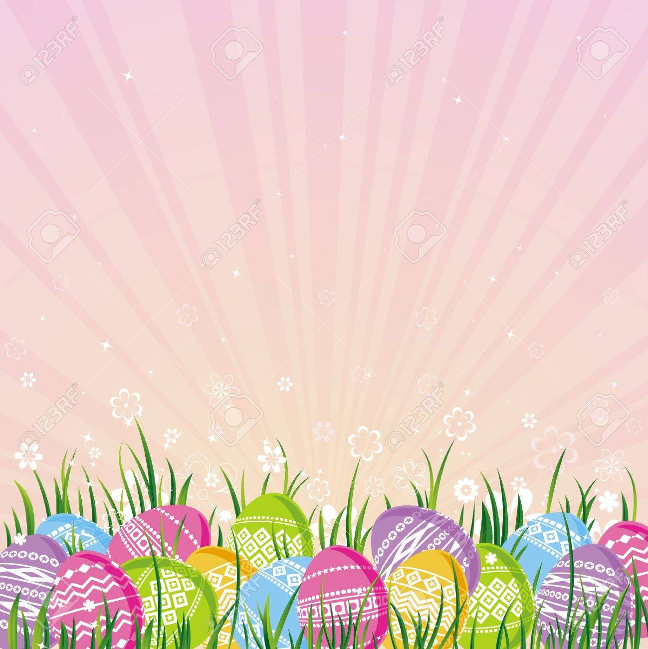 many color easter eggs over pink background royalty free cliparts
