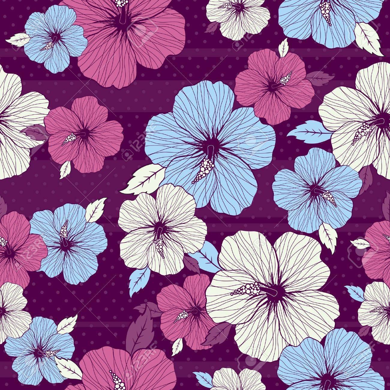 bouquet of hibiscus on purple background Stock Vector - 3084742