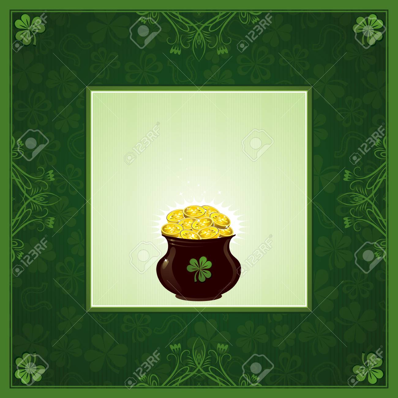 green background with shamrock and  pot with golden coins Stock Vector - 4269301