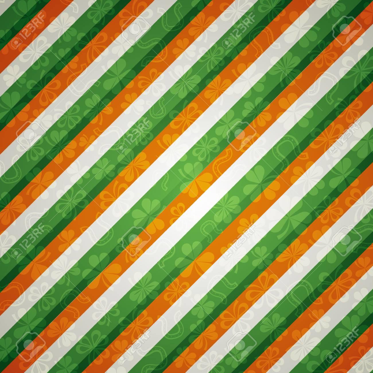 striped background with shamrock Stock Photo - 4395932