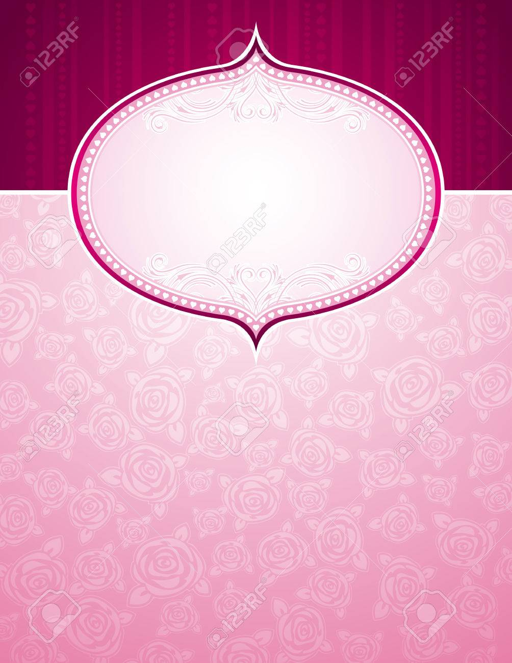 pink background with big label and roses, vector illustration Stock Vector - 5960212