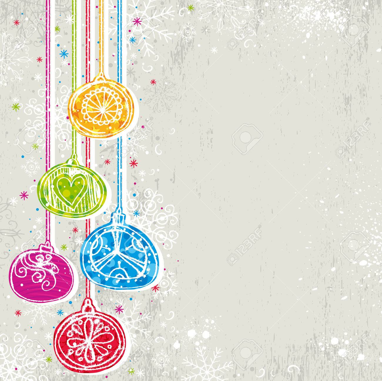 color christmas background with christmas balls,  illustration Stock Vector - 7714144