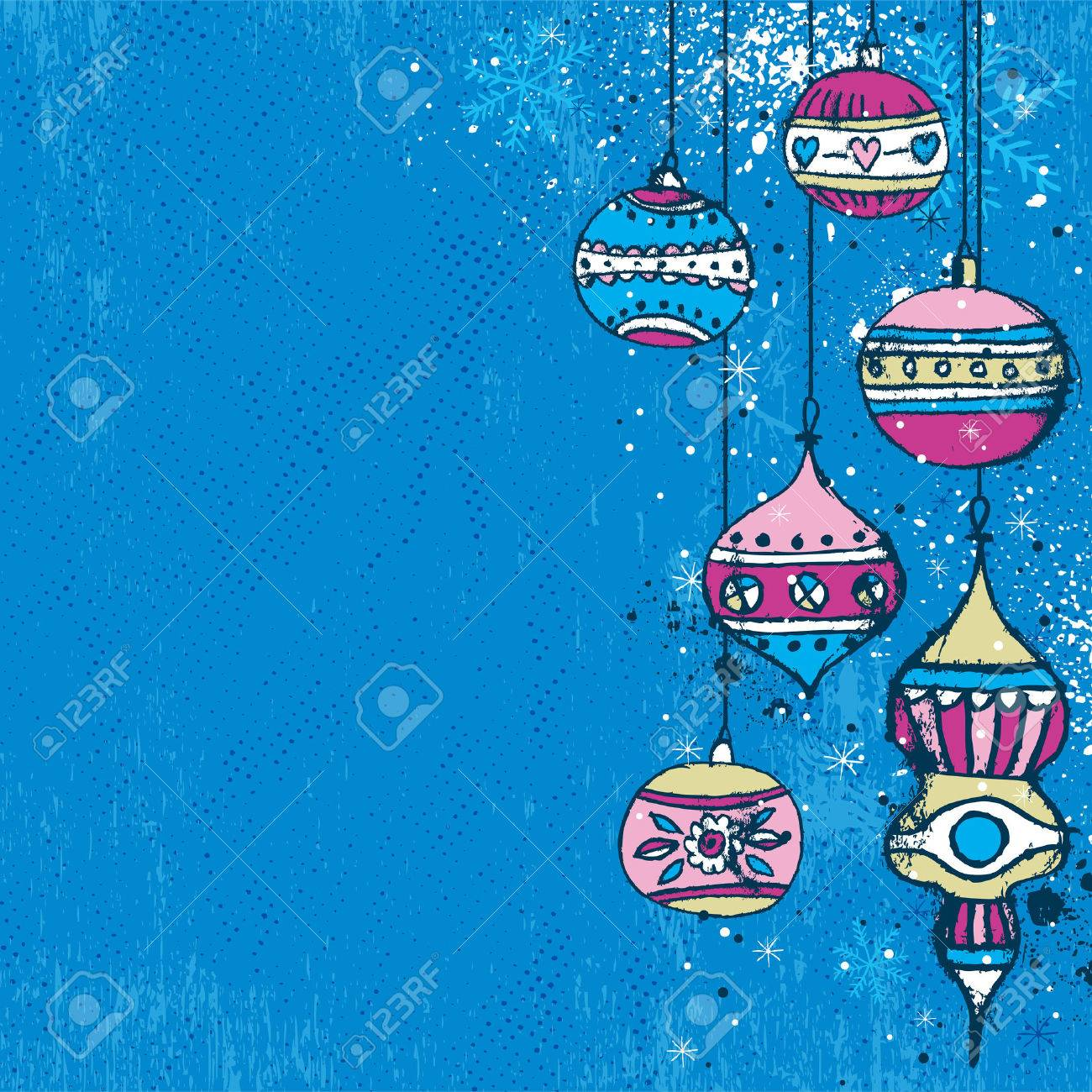 blue background with christmas balls,  illustration Stock Vector - 7744235