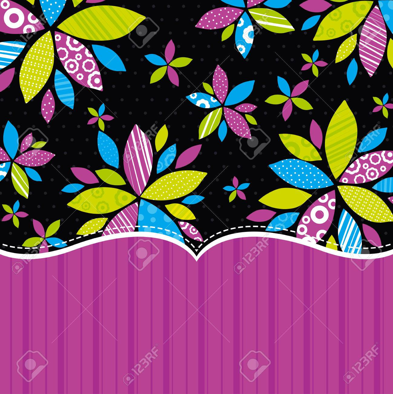 black background with  color flowers, illustration Stock Vector - 7826945