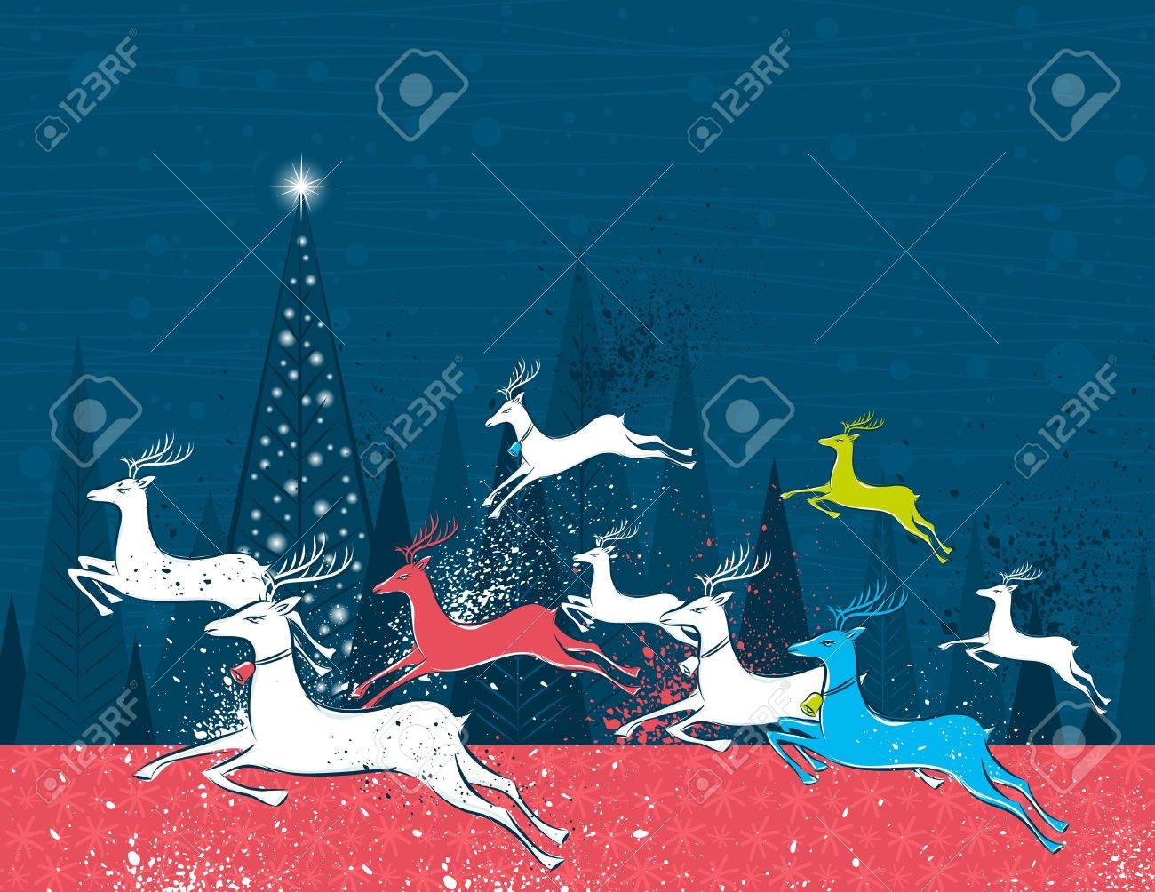 Running christmas deers in the blue forest,  vector illustration Stock Vector - 7972838
