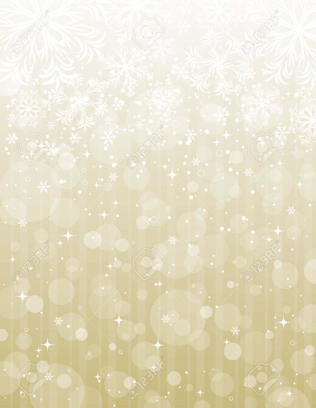 golden christmas background with snowflakes, illustration Stock Vector - 8093147