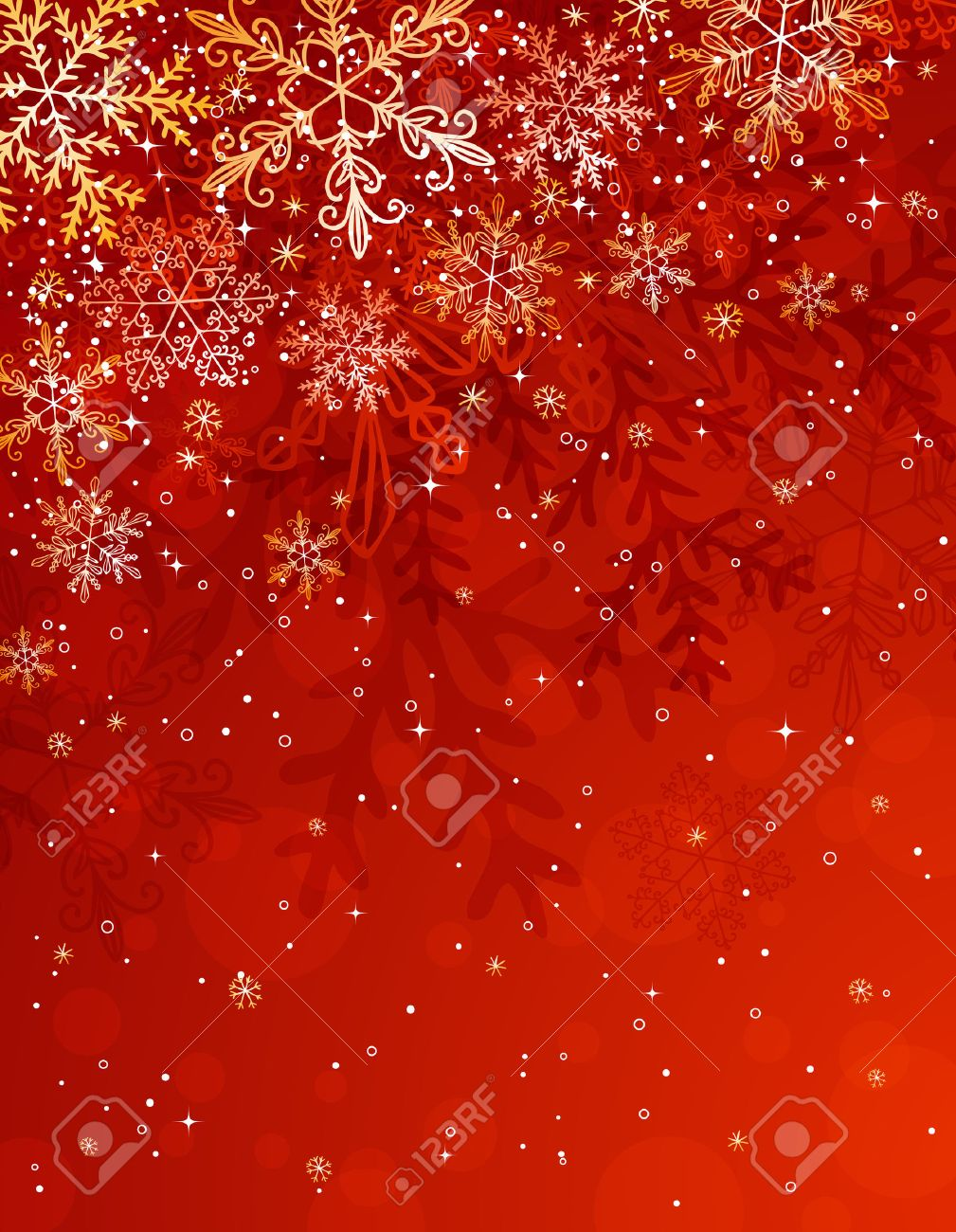 Red Christmas Background With Snowflakes, Illustration Royalty ...